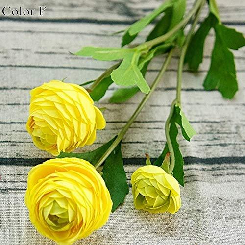 HYLZW Künstliche Blume Topfpflanze 1 Stücke 3 Köpfe Kleine Künstliche Ranunculus Asiaticus Rose GefälschteFlores Artificiales Für Zuhause Hochzeit Dekoration Pfingstrosen