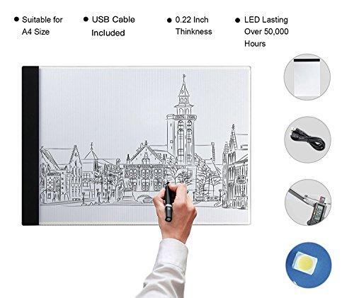 A4 Light Box LED Copy Board Zeichnung Light Pad mit USB-Stecker und Kabel, Kunst Handwerk Zeichnung Tracing Tattoo Board für Künstler, Zeichnung, Animation, Skizzierung, Entwerfen (A4-LITE) (Glasmalerei-box)