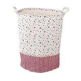 Addfun®Prämie Stoff Faltbare Runden Wäsche Korb,Stitching Spitze Wäsche Korb Kinder Spielzeug Lagerung Halter mit Lids 35 * 45cm(rote Blume)