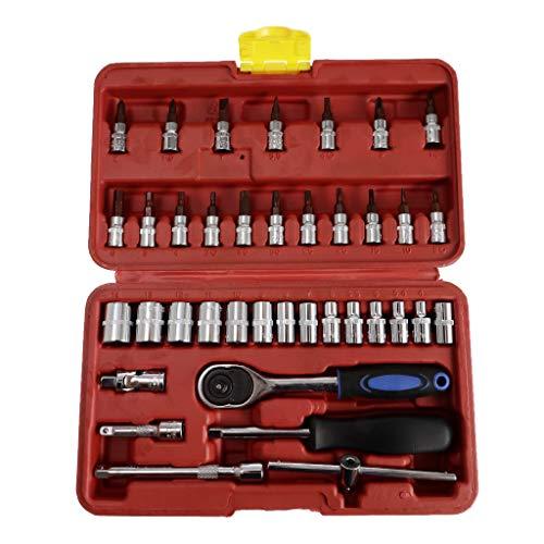 B Blesiya Clé à Cliquet Outils de Mécanique 38pcs Boîte de Réparation De Voiture