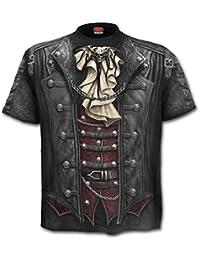 Spiral Direct Goth Wrap T Shirt Imprimé Steampunk (Noir)