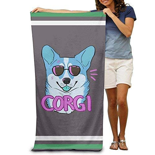 XIEXING Badetuch Funny Cute Hipster Corgi Dog Bath Towels Beach Towels Washcloths Adults Soft Absorbent