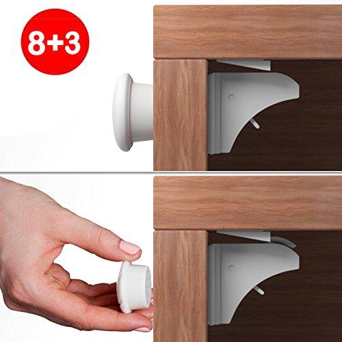 Kindersicherung Sicherheitsschloss Unsichtbarer Kindersicherheit Magnetisches Schrankschloss Set 8 Schlösser + 3 Schlüssel Baby-Sicherheits-Magnetschlösser Kein Bohren Magnetic Adhesive Sperre für Schubladen, Schrank (weiß)