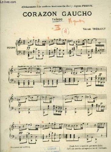CORAZON GAUCHO - TANGO POUR PIANO + VIOLON (PARTITION MANUSCRITE).
