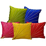 indoAmor Stripes Silk Cushion Covers (Multicolor 16x16 Inches, Set of 5 Covers)