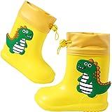 Botas de Agua para Niños y Niñas Botas de Lluvia de Goma Impresiones de Dinosaurios Banda Elástica Zapatos Impermeables
