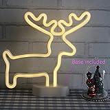 Weihnachten Neonlichter Rentier|X-Max Neonschild|Kinder Wandlichter|Nachtlichter für Sc|hlafzimmer Mädchen|dekorative Tischlampe|Geburtstagsgeschenk|Batterie und USB Angetrieben(NEDER)