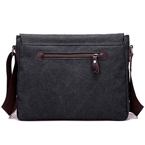 Nlyefa Mens Borsa A Tracolla Tela Borsa A Tracolla Vintage Messenger Bag Per Ufficio Scuola Vita Quotidiana Viaggio (nero) Nero