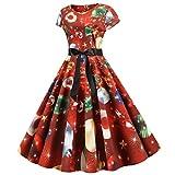 Tohole Damen Weihnachten Kleid Off Shoulder A-Linie Weihnachtskleid Snowflake Printing Partykleid Swing Kleider, Kurzarm Christmas Dress,Weihnachts Frauen Kleidung(A rot,L)