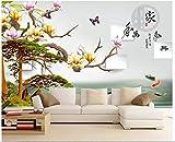BHXINGMU Benutzerdefinierte Wandbilder Fototapeten Einladende Kiefer Der Chinesischen Magnolie 3D Großes Schlafzimmerwohnzimmer-Dekorationsaufkleber 280Cm(H)×400Cm(W)