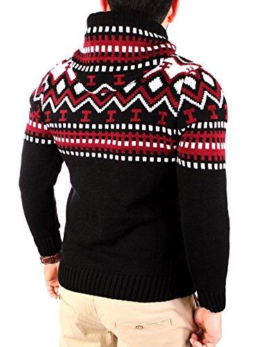 Reslad Norweger Pullover Herren Winterpullover Kapuzenpullover | Strickpullover für Männer RS-3013 Schwarz-Rot