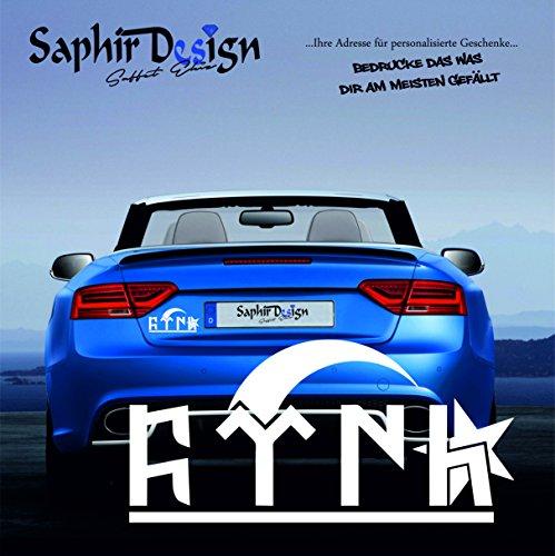 """Göktürkce """"TÜRK"""" yazi 2 / AyYildiz / Türkiye / Sehr Coole Autoaufkleber / 17x8cm / A141 Farbe Weiss"""