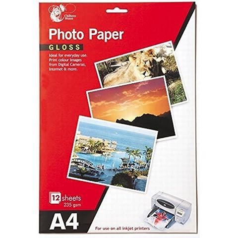 24Hojas de papel fotográfico brillante A4/2paquetes de 12
