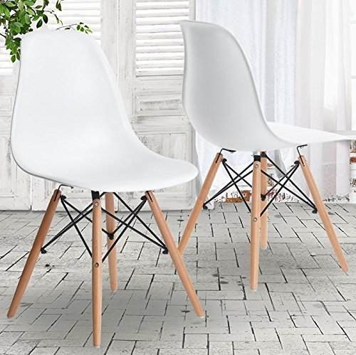 Charles & Ray Inspired Eiffel Retro Design Wood Style Chair for Office Lounge Dining Kitchen – White (4)