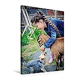 Premium Textil-Leinwand 60 cm x 90 cm hoch, Mädchen spielt mit der Ziege und einem Hund | Wandbild, Bild auf Keilrahmen, Fertigbild auf echter Leinwand, Leinwanddruck (CALVENDO Menschen)