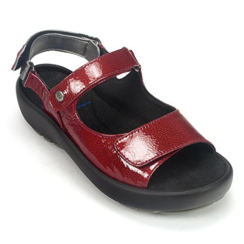 Wolky Womens Rio Leather Sandals Red Patent Metal