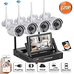 SW 4CH 720P WIFI NVR Système de Caméra de Surveillance QR Code 4 Wireless caméra Intérieur/Extérieur Etanche 720P Haute Résolution IP Caméra de Sécurité Accès à distance via Smartphone/PC (4CH 720P +1TB HDD) Wireless Camérasystem / CCTV Kamera Plug & Play