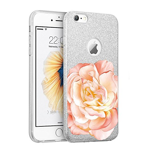 Coque iPhone 7 ,Vanki® Ultra Mince Soft TPU Frame Shock-Absorption avec Anti-rayures Case Cover Sparkle Paillette Etui Coque pour Apple iPhone 6/6S pivoine