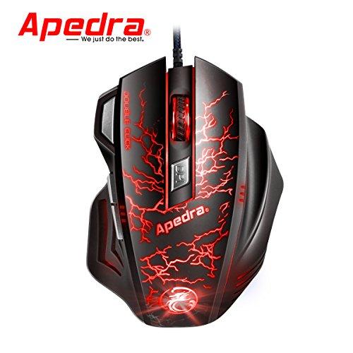 Apedra Professionelle Gamer Mause Programmierbaren Hohe Präzision Tasten 7 Tasten 3200DPI 5 Einstellbare DPI Stufen Maus Ergonomisch Breite Oberfläche Angenehmes Gefühl