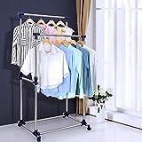 Ash & Roh Garment Rack, Double Rail Rod Adjustable Hanging Clothing Rack Rolling Clothes Garment Rack