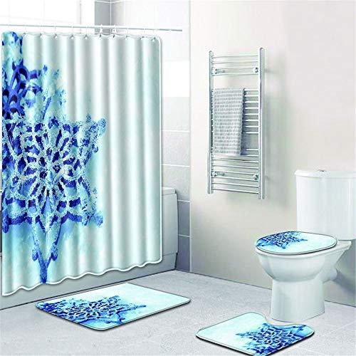 LWPCP Duschvorhang + Türmatte + WC-Abdeckung + Fußkissen 4-Teiliges Set Bad, Baddekoration HD-Druck Anti-Rutsch-Feuchtigkeit (Schneeflocke),1,45 * 75CM