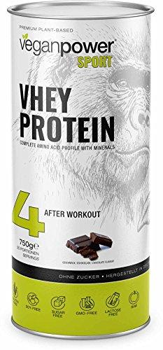 veganpower VHEY PROTEIN – veganes Proteinpulver (XL 750g) aus hochwertigem Erbsenprotein, glutenfrei, zuckerfrei, lactosefrei – perfekter Eiweißshake mit Geschmack (Schokolade)