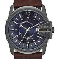 Diesel Master Chief - Reloj de cuarzo para hombre, con correa de cuero, color marrón de Diesel