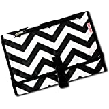 Boo Moi - Baby Changing Mat and Mini Bag - Travel Mat. Lightweight, Waterproof and Durable. Wipe Clean, Cushioned Changing Pad. Black and White Chevron Design.