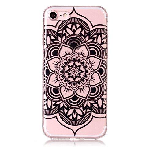 iPhone 7 Hülle, Voguecase Silikon Schutzhülle / Case / Cover / Hülle / TPU Gel Skin für Apple iPhone 7/iPhone 8 4.7(Lace Blume/Schwarz) + Gratis Universal Eingabestift Lace Teppich 10