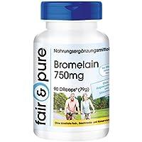 Bromelain 750mg, vegan, hochdosiert, 1800 F.I.P., 90 Kapseln, ohne Magnesiumstearat, 3-Monatsversorgung, unterstützt die Verdauung und das Immunsystem