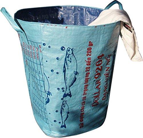 Umweltschonender, schicker Wäschesack in Blau aus recyceltem, tropischem Reissackmaterial gefertigt für alle Menschen die Nachhaltigkeit auch leben
