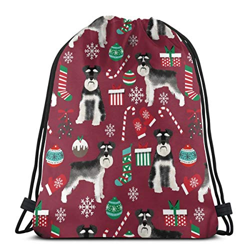 new styles bbbdf 07d46 best gift Schnauzer Black and White Stockings Candy Canes Winter Ruby 19281  Custom Drawstring Shoulder Bags Gym