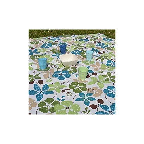 Fleur de Soleil N240ECAPV Nappe carrée Coton enduit Vert/Bleu/Blanc 160 x 200 cm