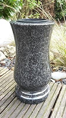 Grabvase aus echtem Granit 29cm x 15cm Friedhofsvase Granitvase Impala von ABC - Du und dein Garten