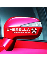 """KaLaiXing® Reflektierende Aufkleber für die Seitenspiegel, 2 Stück, Resident Evil-Motiv, """"Umbrella Corporation"""", für Auto, Motorrad Fahrrad, Weiß"""