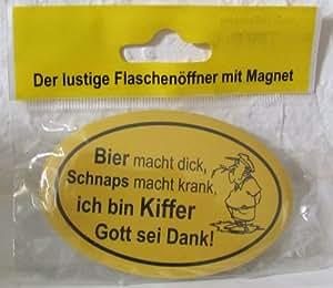 flaschen ffner mit magnet und lustigem spruch versehen farbe gelb spruch nicht w hlbar. Black Bedroom Furniture Sets. Home Design Ideas