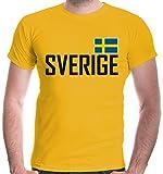 buXsbaum Herren T-Shirt Schweden | Sverige Sweden Suede Suecia Europa | Ländershirt Fanshirt | M, Gelb