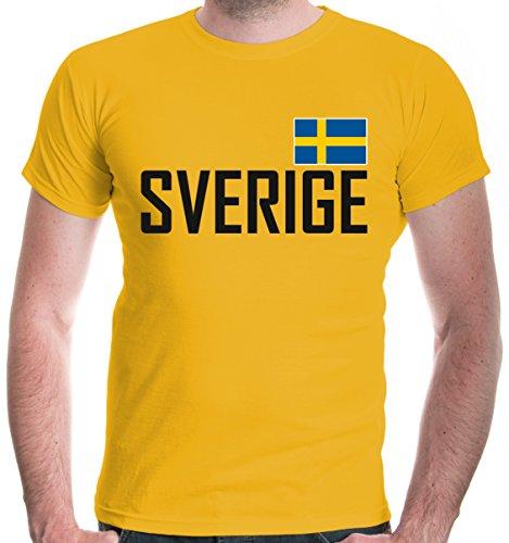 buXsbaum Herren T-Shirt Schweden | Sverige Sweden Suede Suecia Europa | Ländershirt Fanshirt | S, Gelb