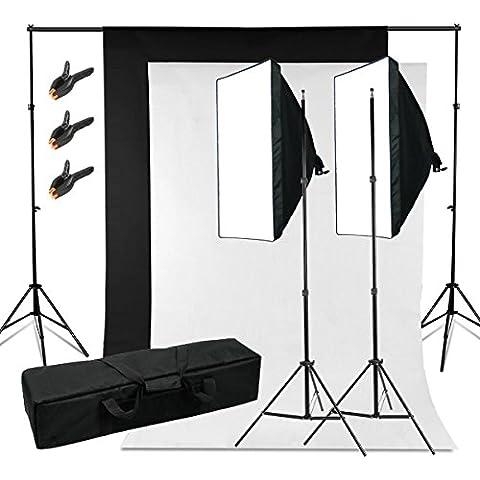 BPS 250W 5500K Kit iluminación Fondo de Estudio Fotografía - 2 softbox 50x70cm + 2 telón de fondo 3x1.6m (negro blanco) + sistema soporte + bolsa de transporte - Equipo profesional de estudio fotográfico casero para retrato, vídeo - Backdrop Lighting Foto