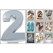 EURO TINS molde para tarta de cumpleaños de número pequeño DOS 2 (tamaño 25 x