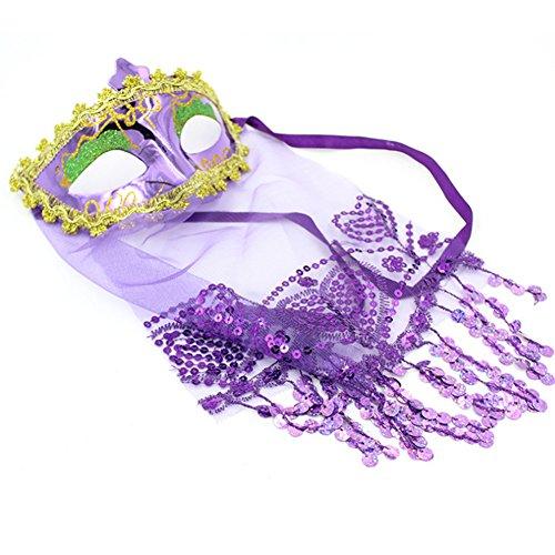 CAOLATOR Halloween Masquerade Maske Damen Spitze Augenmaske Lila Indische Art Lace Gesichtsmaske Maskenball Masken Mit Schleier für Tanz Kostüm Karneval Party (Kostüm Für Indische Tänze)