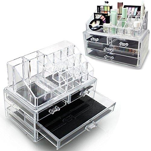 3 strati deselezionare cosmetici cassetti trucco gioielli deposito Display Organizer Box titolare Stand Make up (Titolare Di Pennelli Di Trucco)