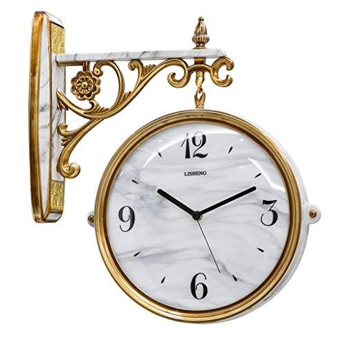 Relojes de pared Reloj Reloj de Pared Decorativo Hermoso mármol Dos Caras del Reloj de Doble Cara Chimenea...