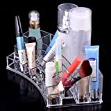 CONNECTWIDE® Acrylic Cosmetic Organizer Cum jewelry Box With Drawers for Make Up Lipstick organizer holder Multi Slots(19 slot cured shaped) Color:White.Qty.(1pcs) Size 28*12*7 CM
