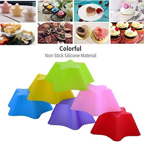 joyoldelf Silikon Muffinförmchen-32er-Pack wiederverwendbarer Backförmchen, Premium Silikonbackformen Muffinformen Cupcake Förmchen (Rund,herzförmig, Rose-artig und Stern)
