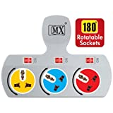 #9: Generic MX3477A MX 3 Socket Universal Adaptor 3 Pin, 5 Ampere with Rotatable Sockets and Individual Switch, 3477A, Color May Vary