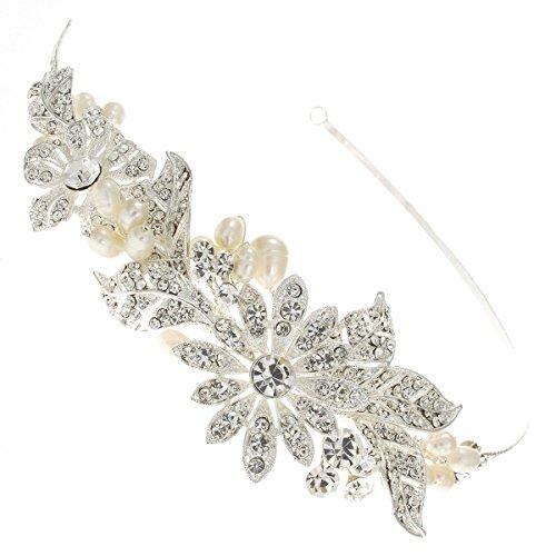 Magnolia foglie, con cristalli Swarovsky e perla, in argento sterling da donna, con fascia per capelli, accessorio per capelli, colore: rosa