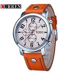 Curren nueva moda Casual reloj de cuarzo correa de los hombres de la gran esfera color naranja resistente al agua reloj de pulsera, 8192G