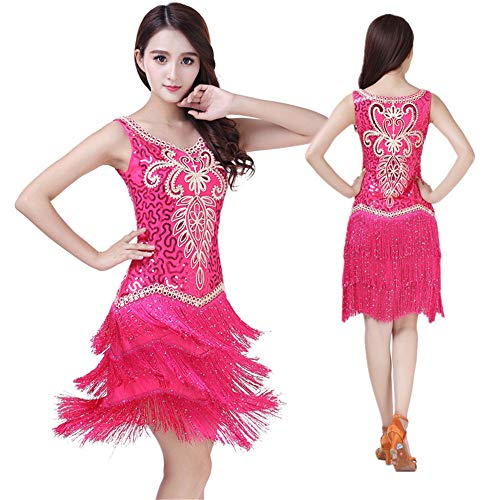 Tanz Gatsby Kostüm - Frauen tanzen Kleid Frauen Dancewear Floral Pailletten Quasten Ballsaal Samba Tango Latin Dance Dress Wettbewerb Kostüme Gatsby Sway Cocktail Fringe Dress Tanz Cocktailkleid