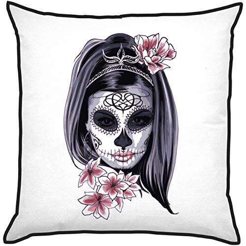 My Custom Style Kissen Polyester Pre-verpackt #Halloween_A# Cuscino 20x20cm Halloween-Donna Scheletro_Nero